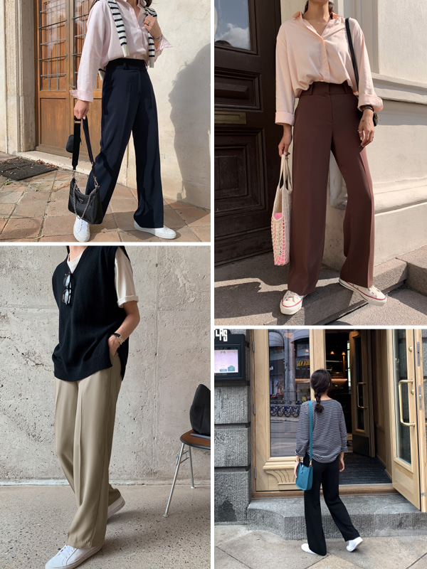 GENTLE dressy SLACKS/ver.와이드스트레이트[size:S,M,L,XL]