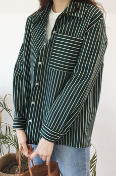 (F/W 플리마켓) Big pocket Stripe shirts
