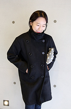 Button double coat